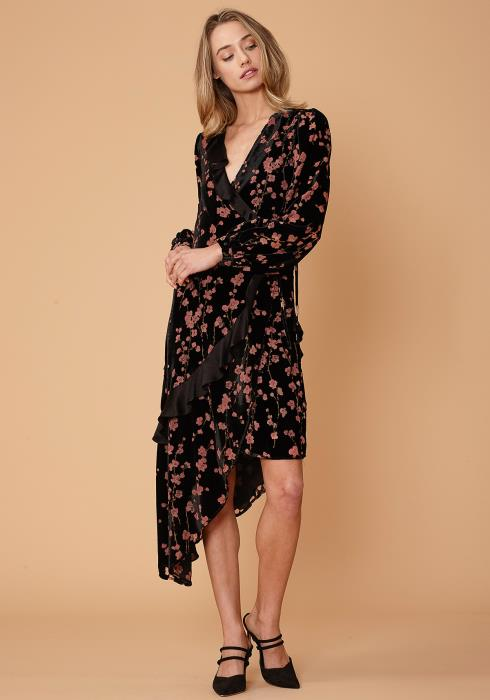 Nurode Velvet Asymmetric Wrap Dress