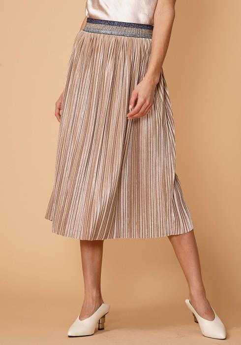 Nurode Glitter Waistband Pleated Skirt