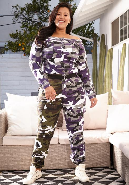 Asoph Plus Size Camo Color Contrast Pants