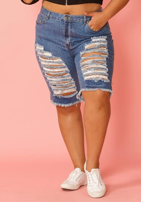 Asoph Plus Size Distressed Knee Length Denim Shorts