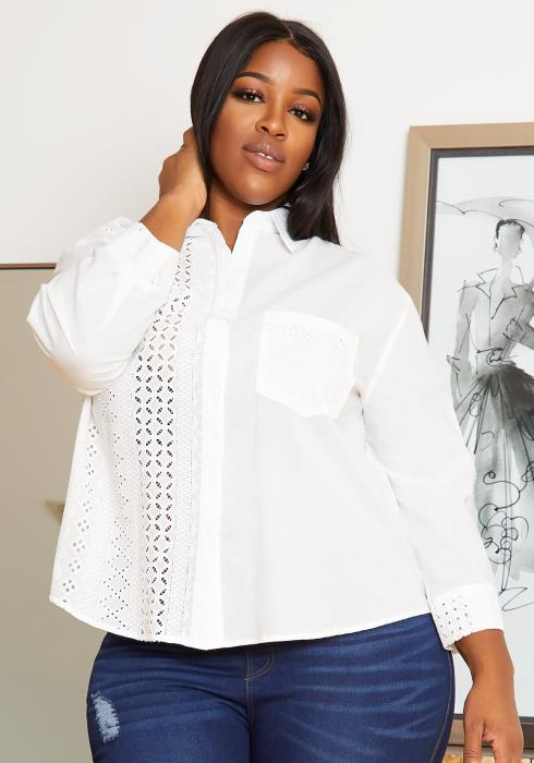 Asoph Plus Size Eyelet Patterned Womens Collar Blouse