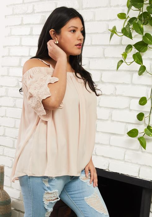 Asoph Plus Size Off Shoulder Lace Sleeve Blouse