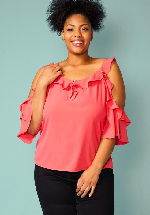 Asoph Plus Size Zip Up Front Ruffle Blouse