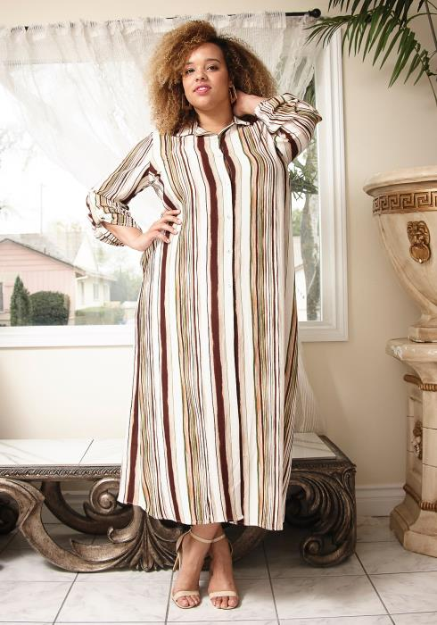 Asoph Plus Size Multi Stripe Button Up Maxi Shirt Dress