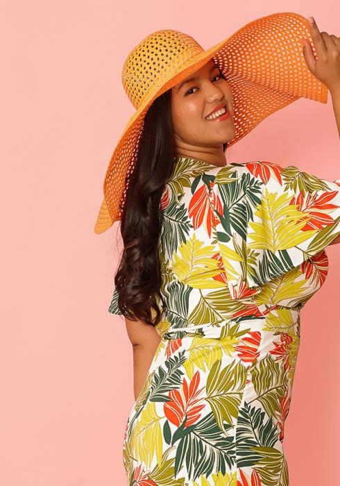 Oversized Orange Floppy Straw Hat