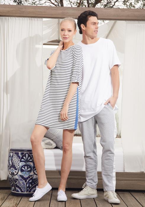 Ro&De Crewneck Stripe Shift Dress