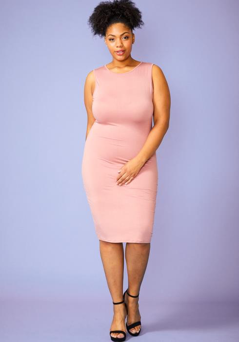 Plus Size Sleeveless Basic Midi Bodycon Dress