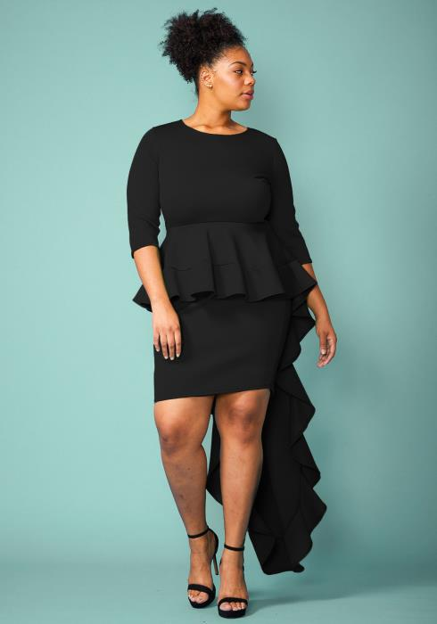 Plus Size Peplum Long Cape Party Dress