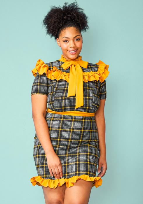 Plus Size Plaid Ruffle Tie Neck Mini Dress