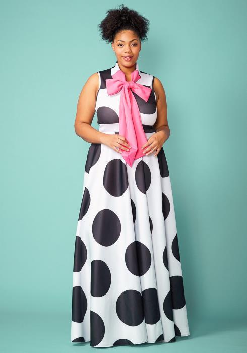 Plus Size Polka Dot Tie Neck Maxi Dress