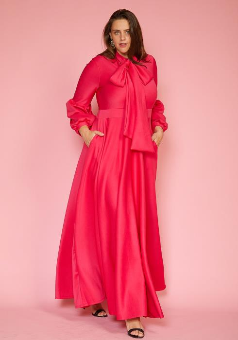 Plus Size Tie Neck Puff Sleeve Maxi Dress