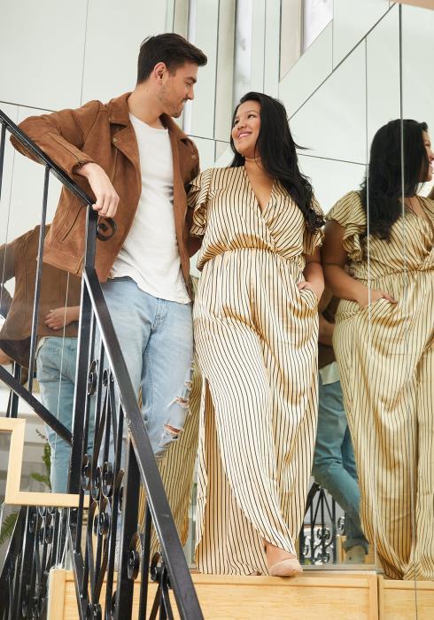Asoph Plus Size Stripe Print V-Neck Side Slit Jumpsuit