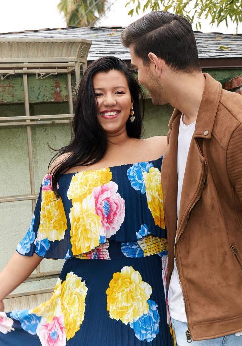 Asoph Plus Size Off Shoulder Pleated Floral Maxi Chiffon Dress