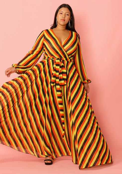 Asoph Plus Size V-Neck Bold Stripe Wrap Maxi Dress