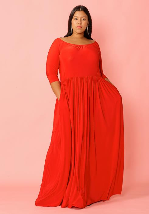 Asoph Plus Size Half Sleeve Boat Neck Maxi Dress