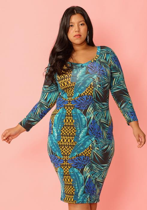 Asoph Plus Size Palm Leaf Print Long Sleeve Bodycon Dress