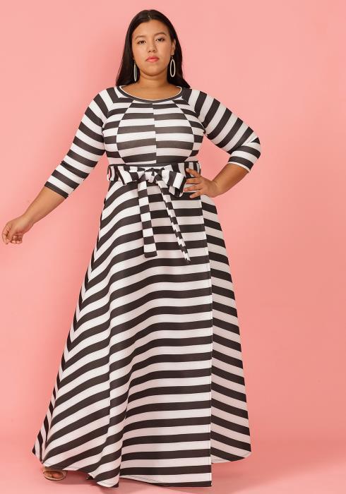 Asoph Plus Size 3/4 Sleeve Stripe Tie Waist Maxi Dress
