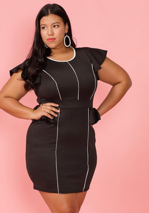 Asoph Plus Size Contrast Ruffle Sleeve Mini Dress