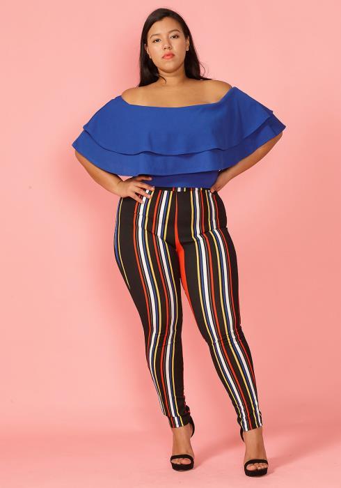 Asoph Plus Size Ruffle Top & Stripe Pants Set