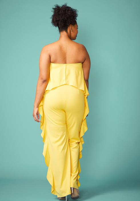 Plus Size Tube Top Ruffle Jumpsuit