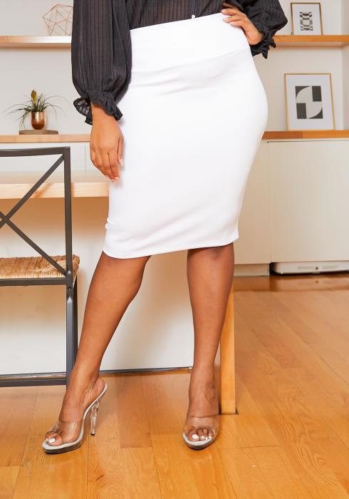 Asoph Plus Size Formal Basic High Waisted Pencil Skirt