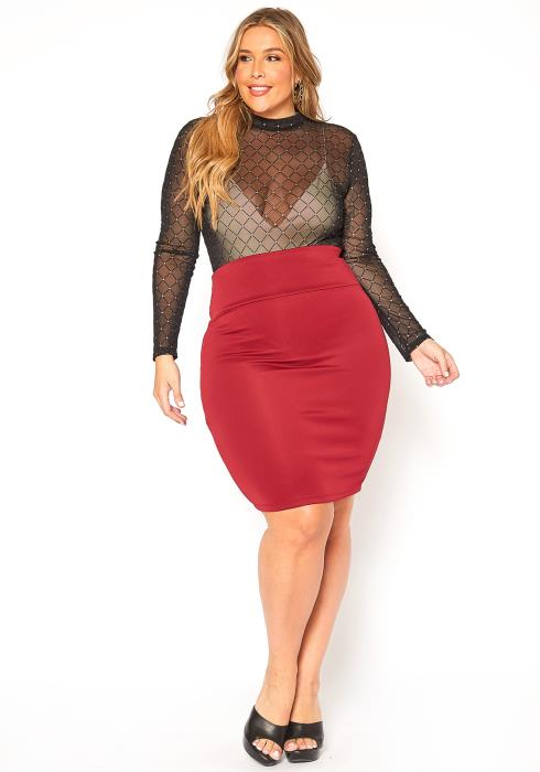 Asoph Plus Size Formal Basic High Waisted Pencil Skirt