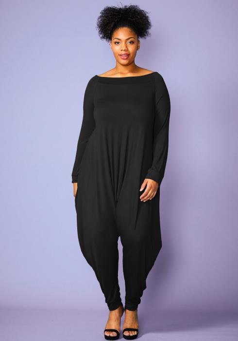 Asoph Plus Size Womens Harem Long Sleeve Jumpsuit