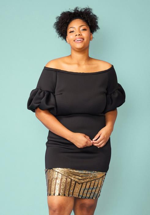 Plus Size Puffy Sleeve Sequin Hem Dress
