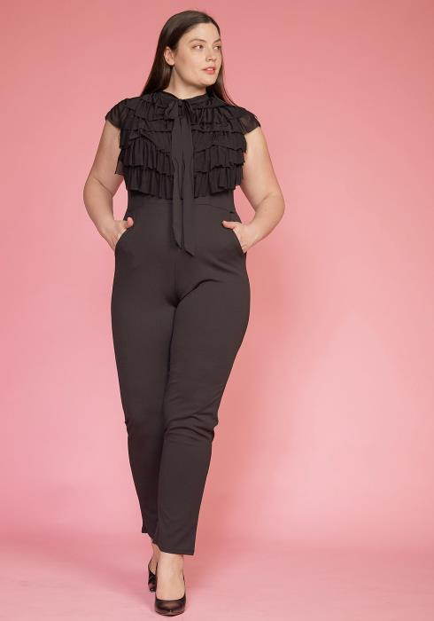Asoph Plus Size Ruffle Tie Neck Sleeveless Jumpsuit