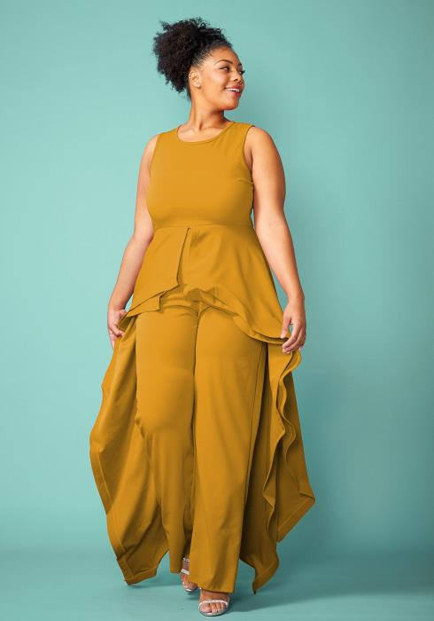 Plus Size Sleeveless Cape Skirt Jumpsuit