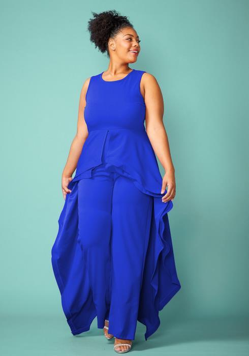 Plus Size Sleeveless Cape Skirt Jumpsuit