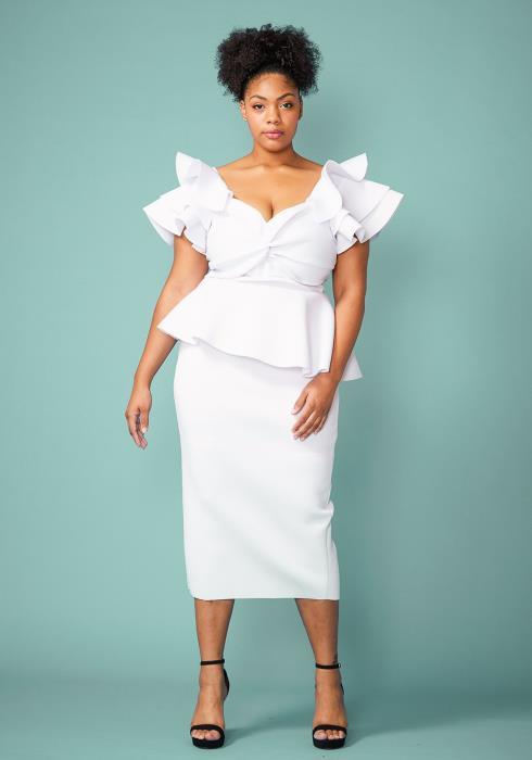 Plus Size Twist Front Peplum Midi Dress