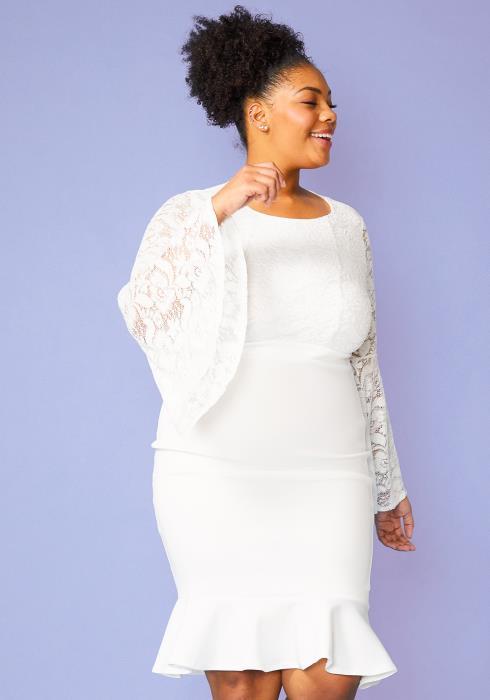 Plus Size Lace Bell Sleeve Flared Hem Dress