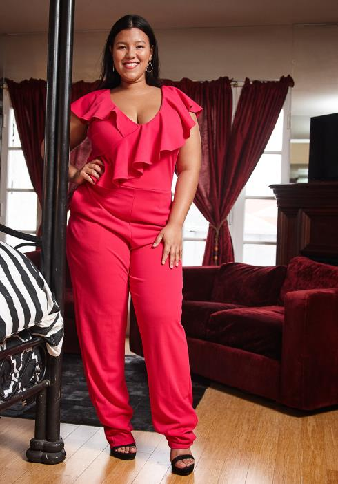 Asoph Plus Size V-Neck Sleeveless Ruffle Jumpsuit