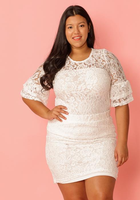 Asoph Plus Size Lace Blouse & Pencil Skirt Set