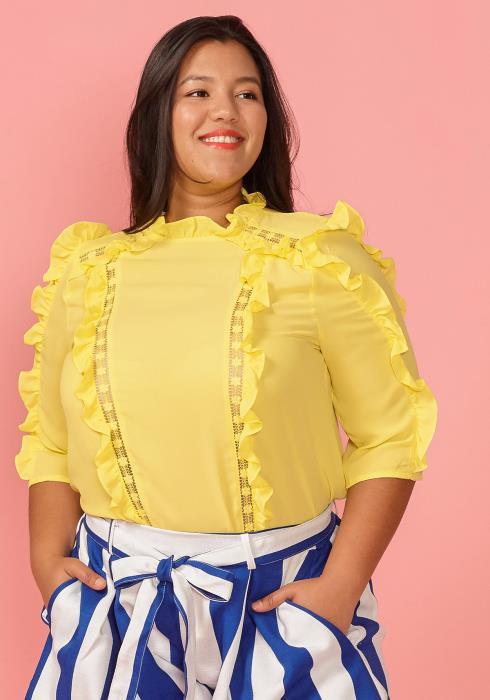 Asoph Plus Size Half Sleeve Ruffle Blouse