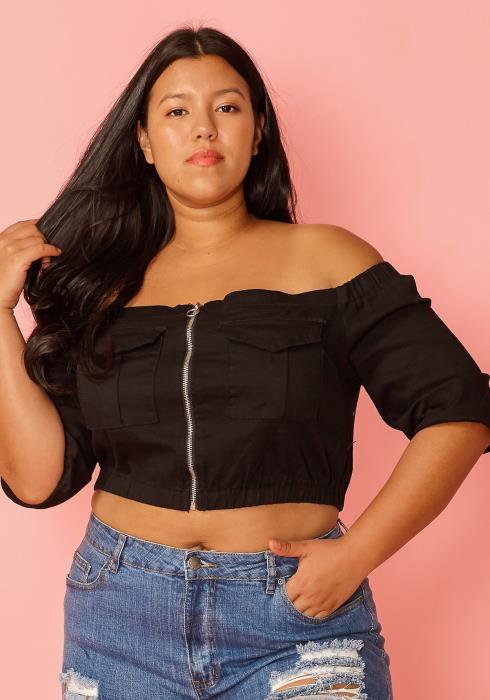 Asoph Plus Size Camo Off Shoulder Zip Up Crop Top