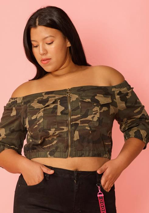 Asoph Plus Size Camo Off Shoulder Zip Up Crop Top