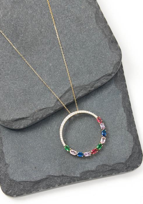 Grove Emerald Cut Multi Color Stone Ring Necklace