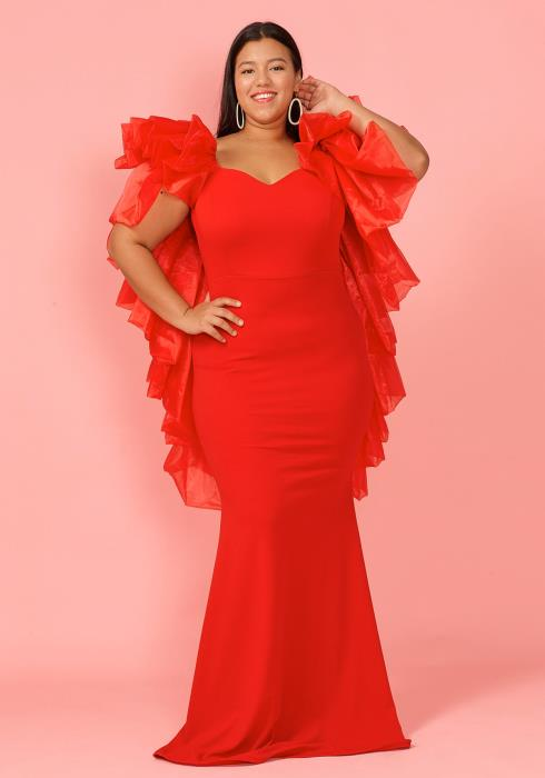 Asoph Plus Size Mesh Shoulder Maxi Evening Dress