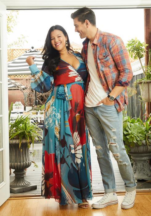 Asoph Plus Size Floral Empire Chiffon Maxi Dress