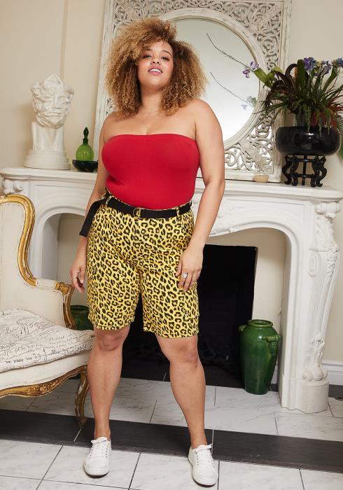 Asoph Plus Size Leopard Print Shorts With Belt
