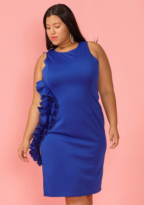 Asoph Plus Size Wavy Side Ruffle Sleeveless Dress