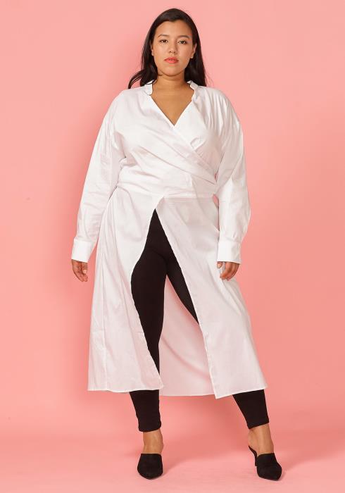 Plus Size Front Slit Wrap Shirt Blouse