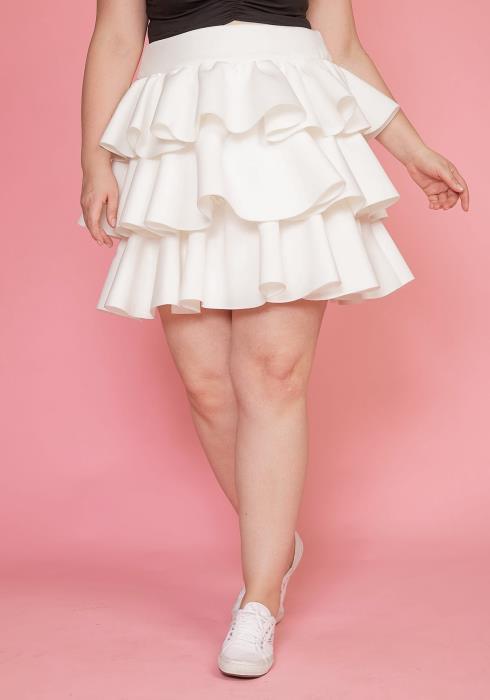 Plus Size Tiered Ruffle Mini Skirt