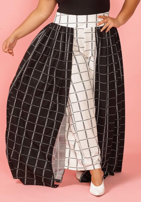 Asoph Plus Size Black White Print Cape Pants