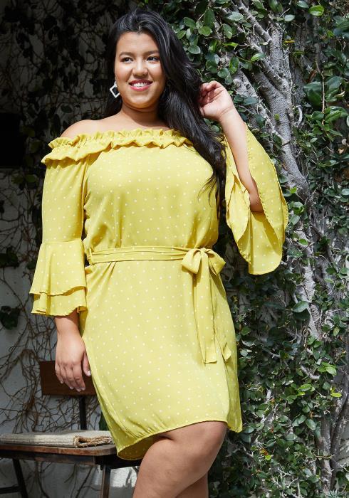 Asoph Plus Size Polka Dot Off Shoulder Tie Waist Dress