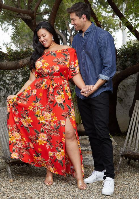 Asoph Plus Size Floral Print Slit Hem Off Shoulder Beach Dress