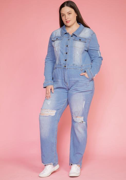 Asoph Plus Size Button Up Denim Light Washed Jumpsuit