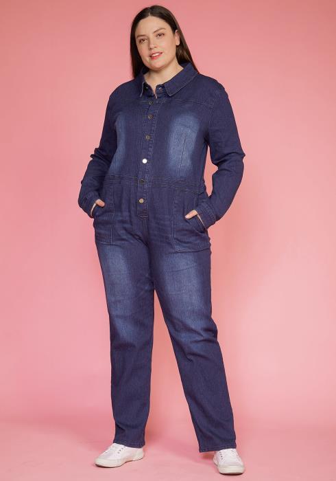 Asoph Plus Size Dark Denim Button Up Jumpsuit